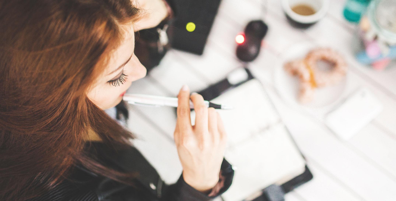 Depp Work Description - Management Recommendation - Deep Work Insights - Woman with pencil